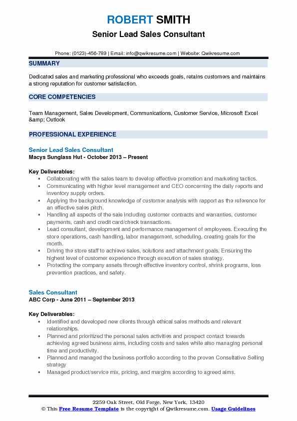 lead sales consultant resume samples