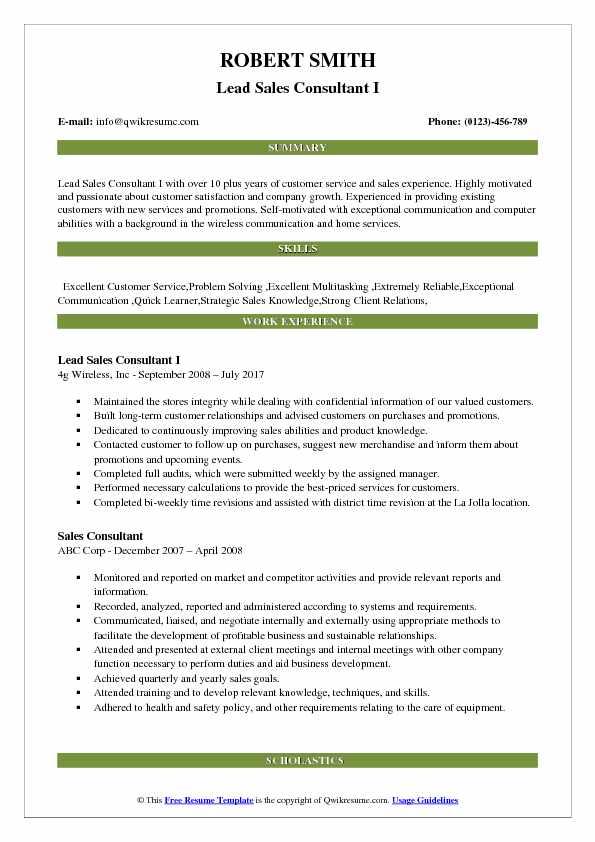Lead Sales Consultant I Resume Template