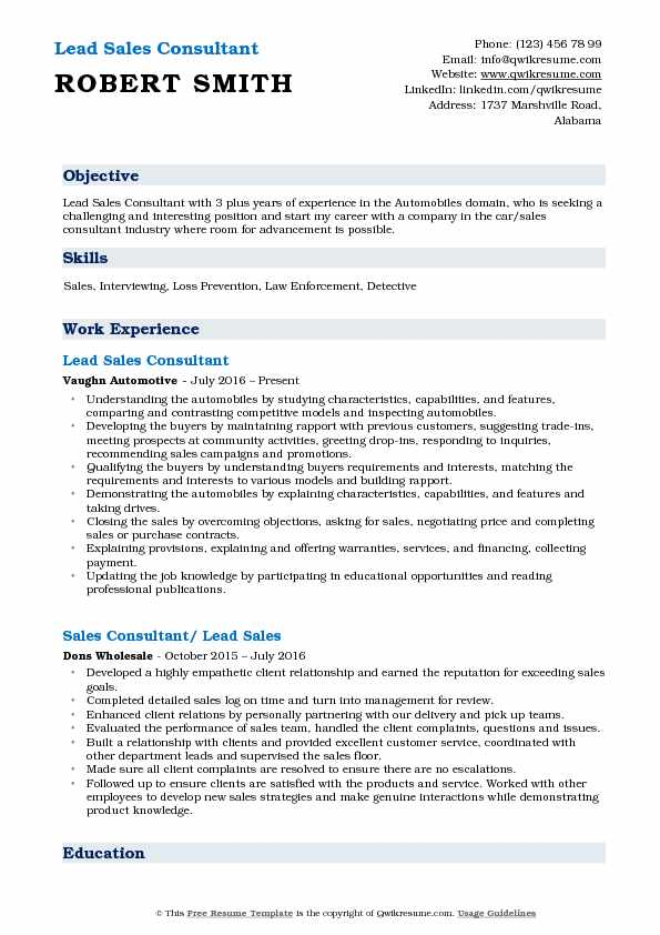 Lead Sales Consultant Resume Template