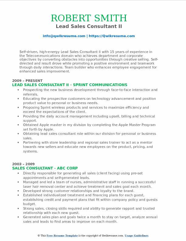 Lead Sales Consultant II Resume Model