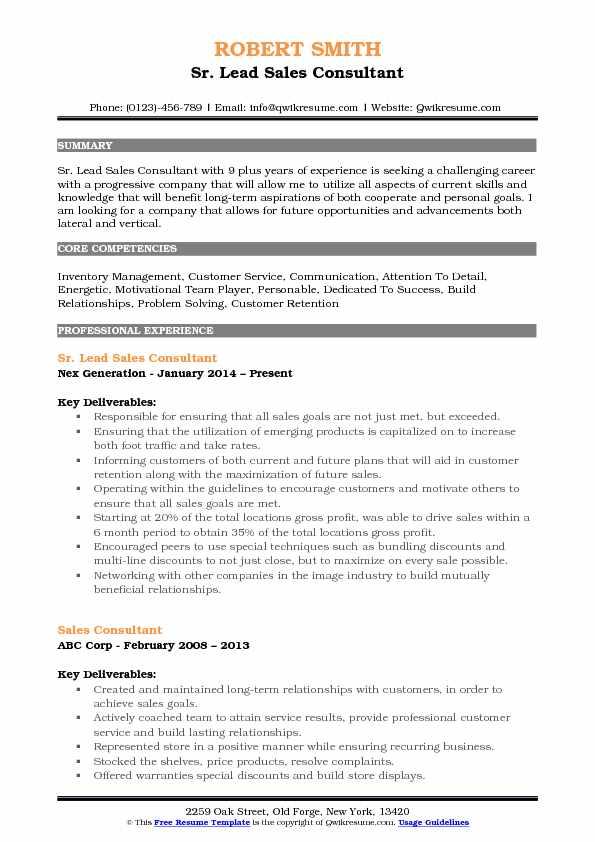 Sr. Lead Sales Consultant Resume Format