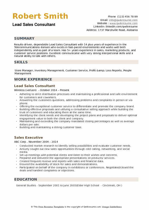 Lead Sales Consultant Resume example