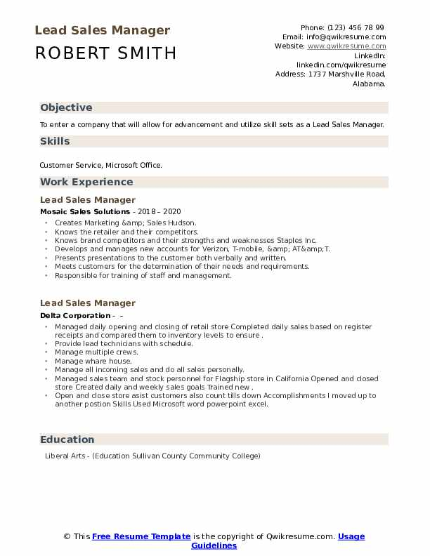 Lead Sales Manager Resume Samples Qwikresume