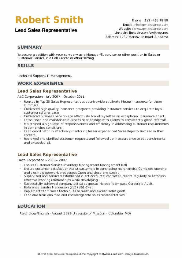 Lead Sales Representative Resume example