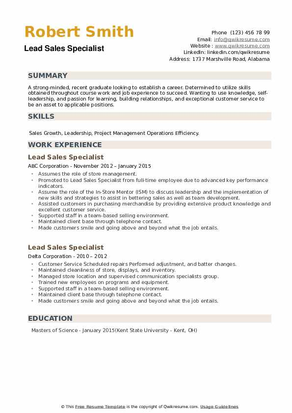 Lead Sales Specialist Resume example