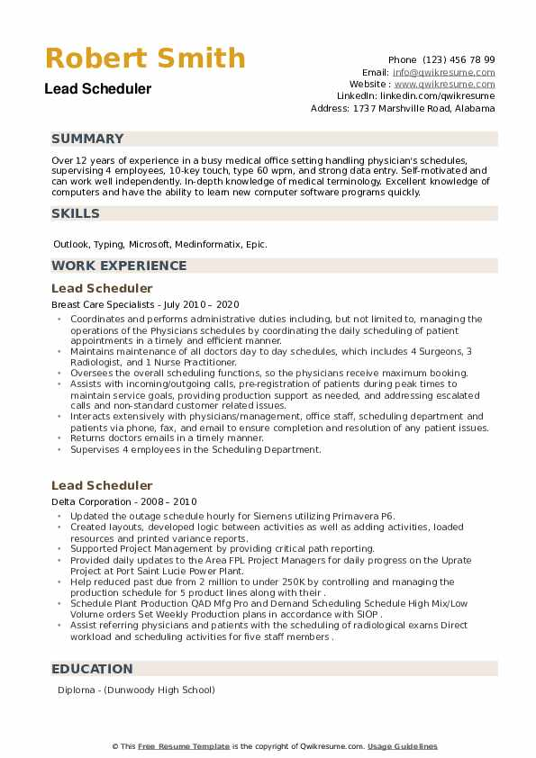 Lead Scheduler Resume example