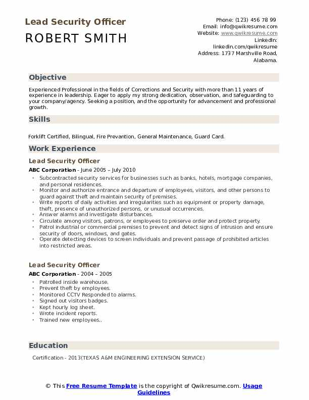 Lead Security Officer Resume Format