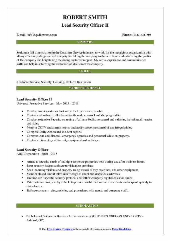 Lead Security Officer II Resume Template