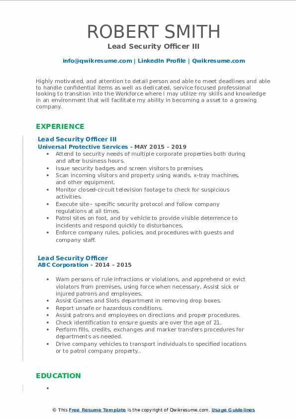 Lead Security Officer III Resume Template