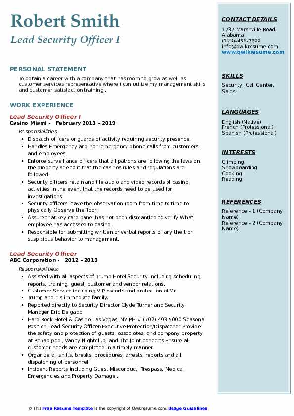 Lead Security Officer I Resume Format