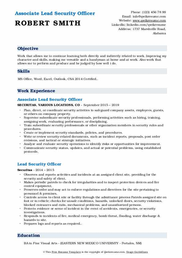 Associate Lead Security Officer Resume Format