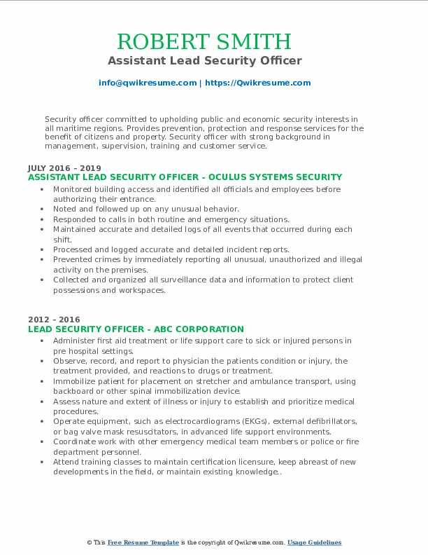 Assistant Lead Security Officer Resume Template
