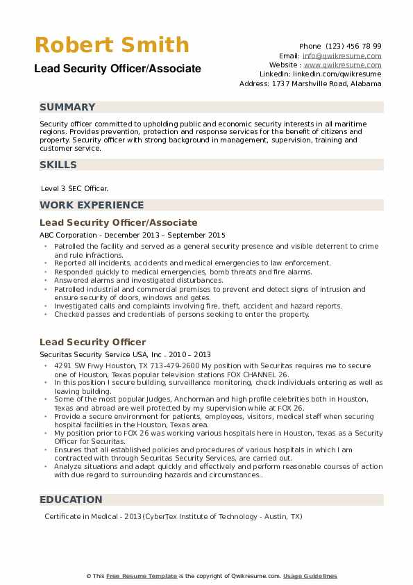 Lead Security Officer/Associate Resume Sample