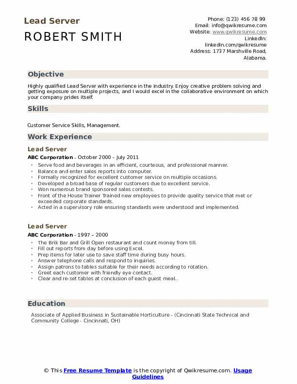 Lead Server Resume Samples Qwikresume
