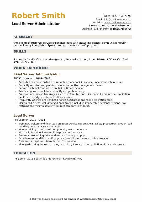 Lead Server Resume Samples Qwikresume