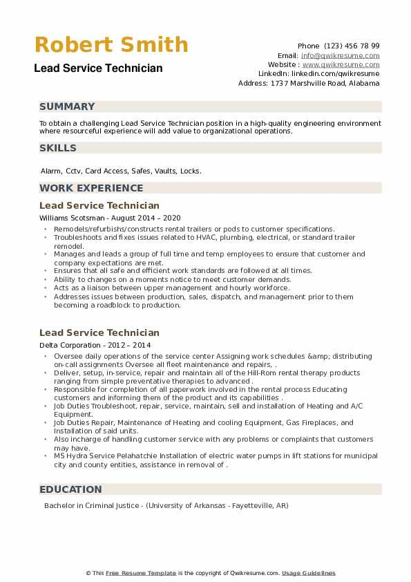 Lead Service Technician Resume example