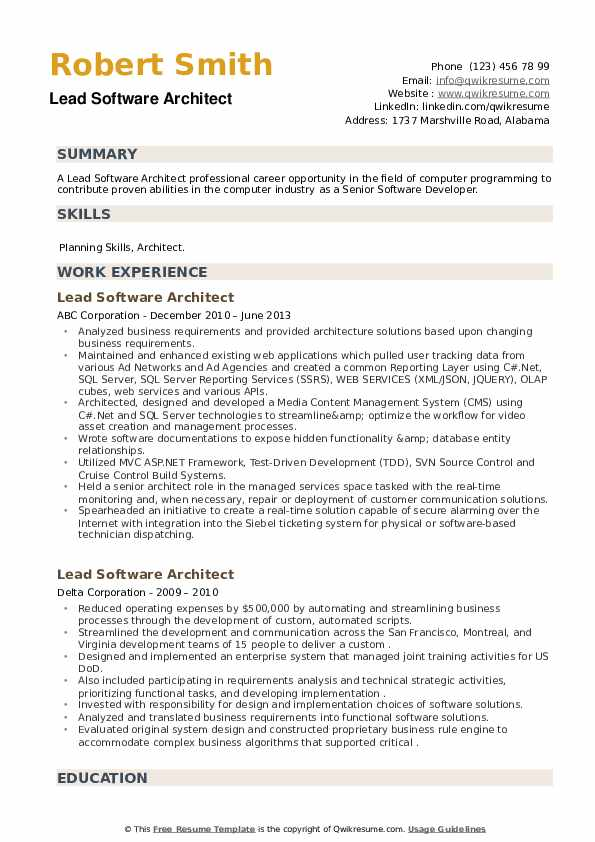 Lead Software Architect Resume example