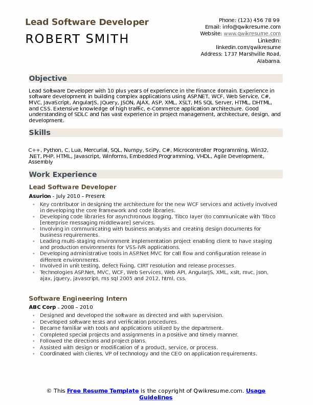 Lead Software Developer Resume Samples | QwikResume