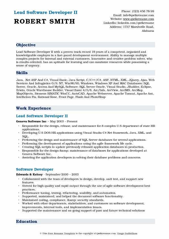 Lead Software Developer II Resume Model