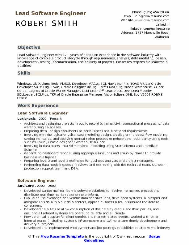 lead software engineer resume samples