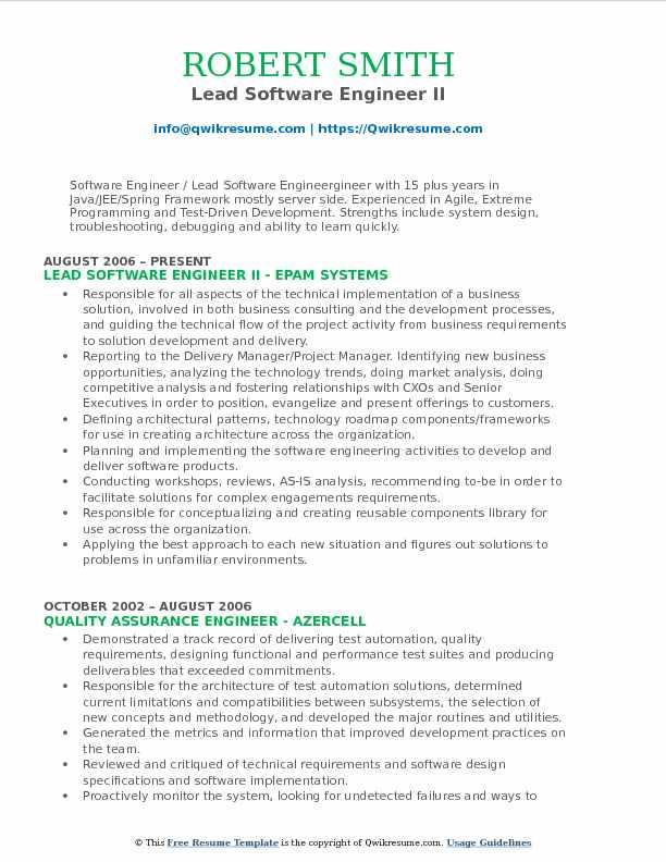 Lead Software Engineer Resume Samples | QwikResume