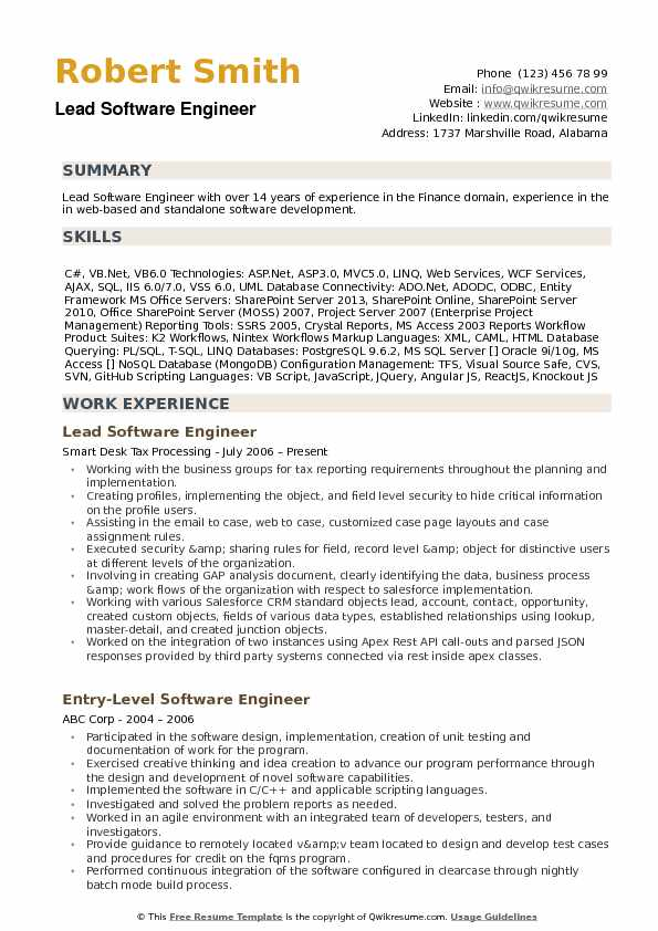 Lead Software Engineer Resume example