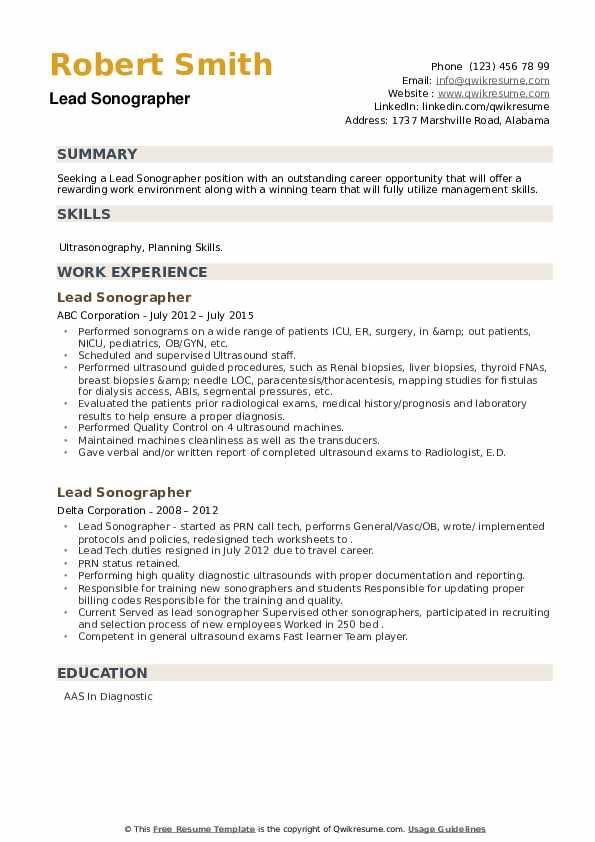 Lead Sonographer Resume example