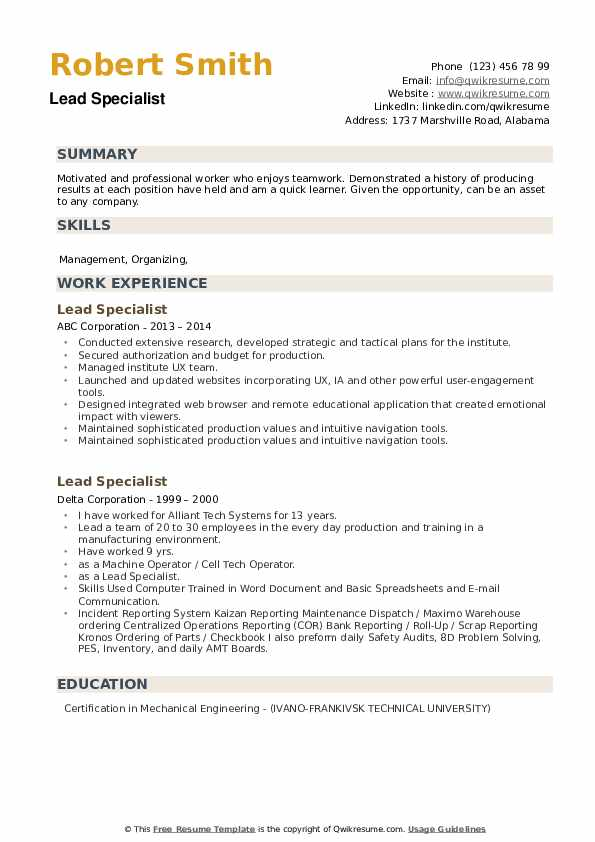 Lead Specialist Resume example