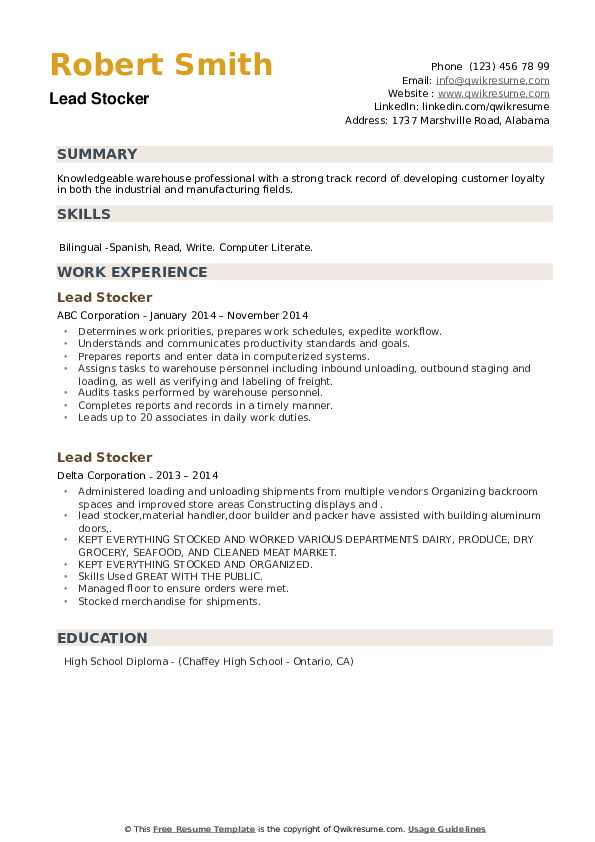 Lead Stocker Resume example