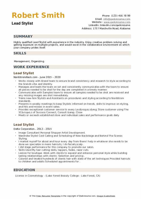 Lead Stylist Resume example
