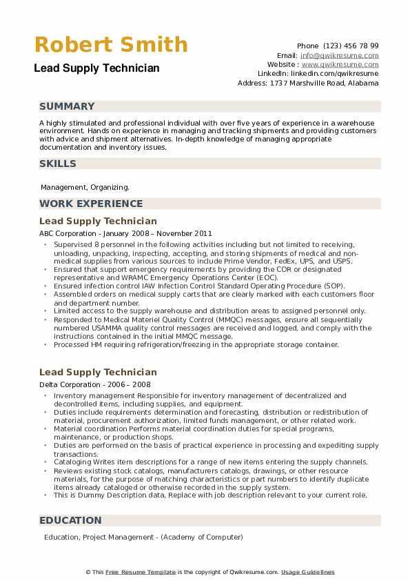 Lead Supply Technician Resume example