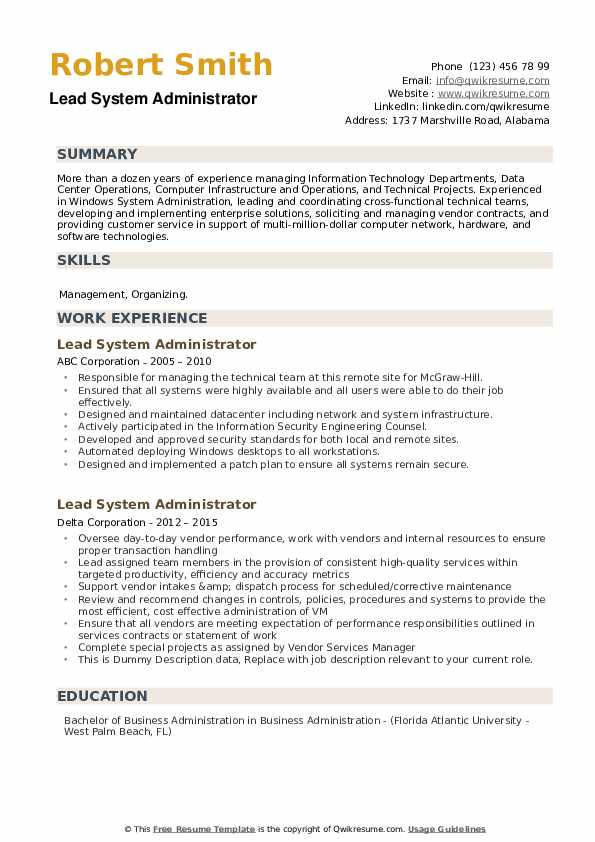 Lead System Administrator Resume example
