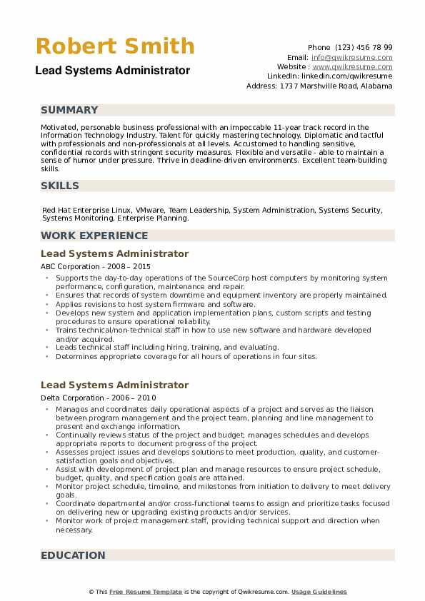 Lead Systems Administrator Resume example