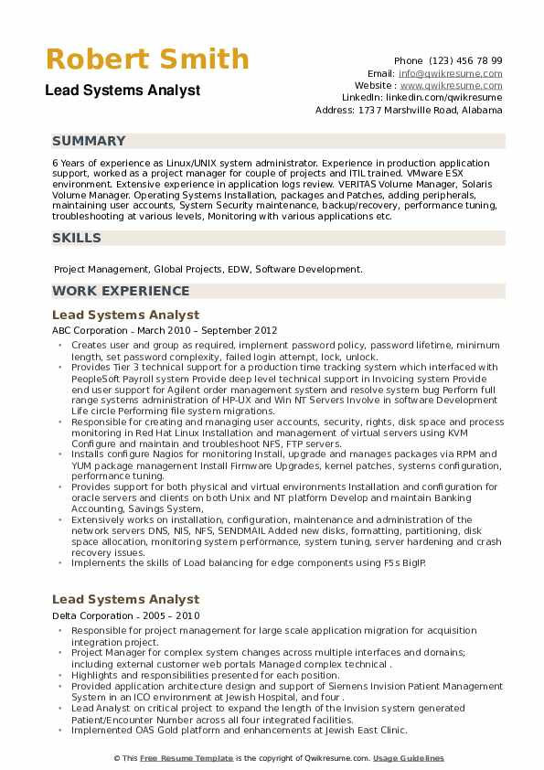 Lead Systems Analyst Resume example