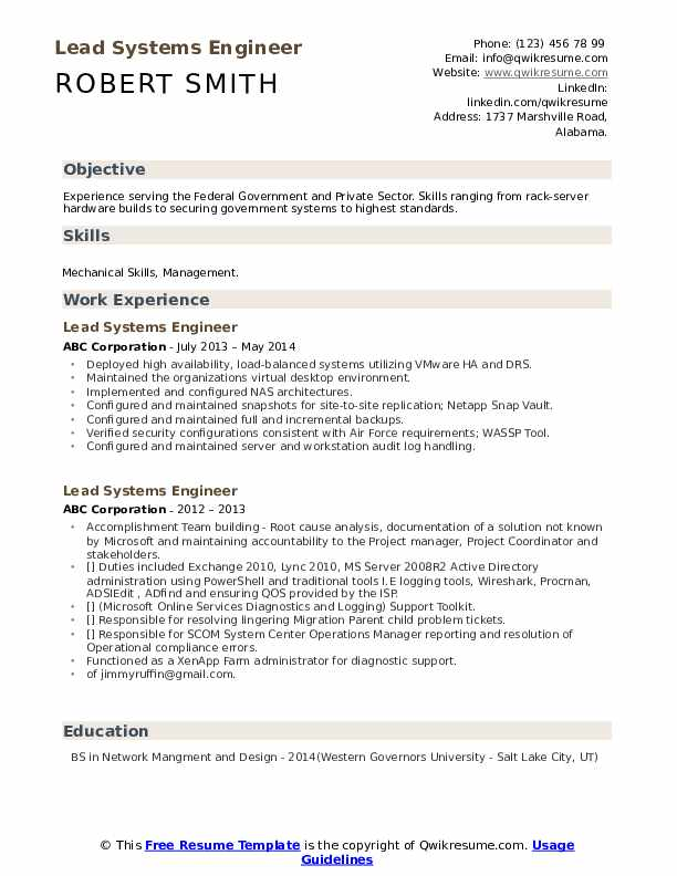 Lead Systems Engineer Resume example