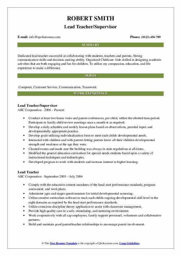 Lead Teacher/Supervisor Resume Format