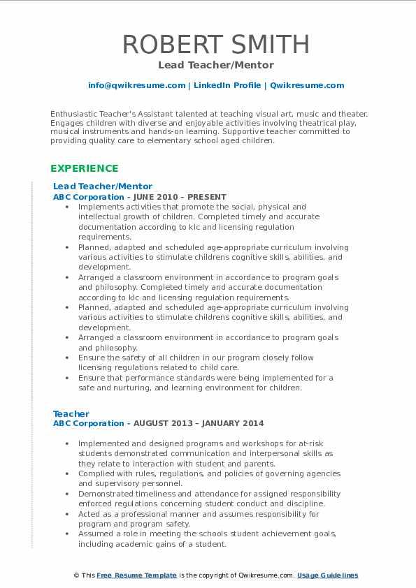 Lead Teacher/Mentor Resume Sample