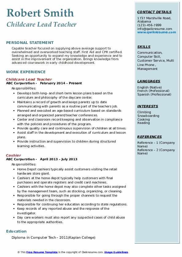 Childcare Lead Teacher Resume Example