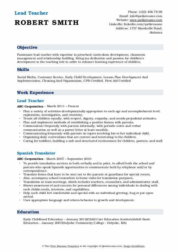 Lead Teacher Resume Model