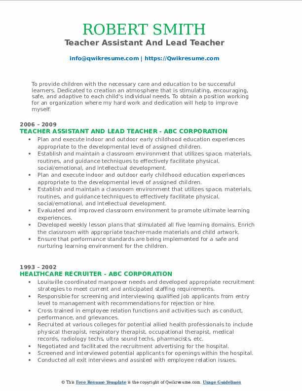 Teacher Assistant And Lead Teacher Resume Format