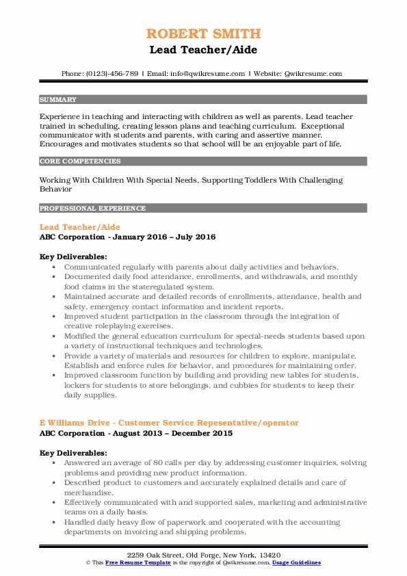 Lead Teacher/Aide Resume Template