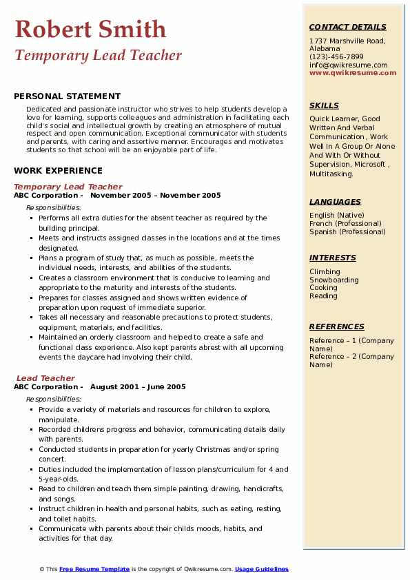 Temporary Lead Teacher Resume Model