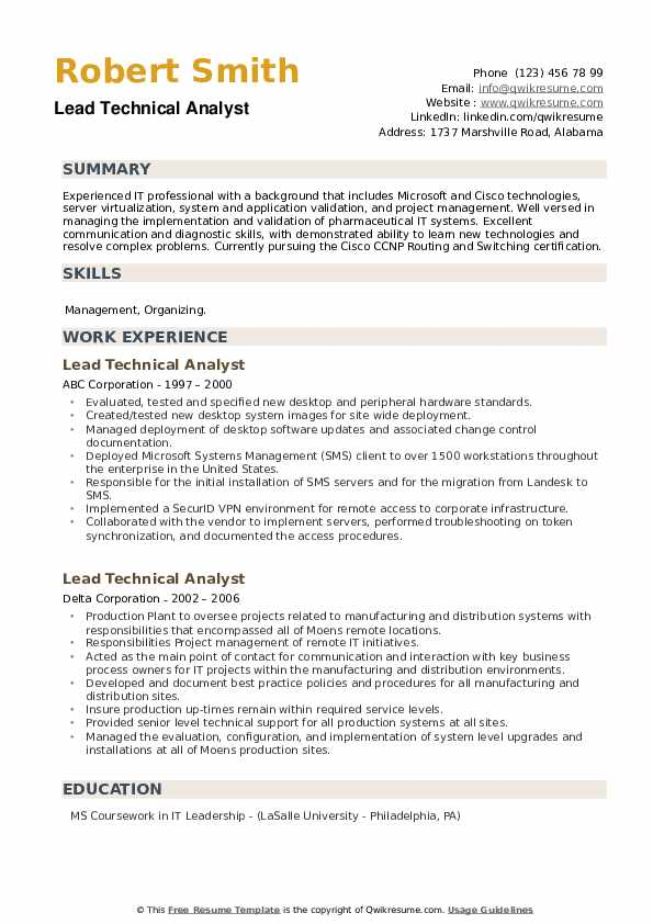 Lead Technical Analyst Resume example