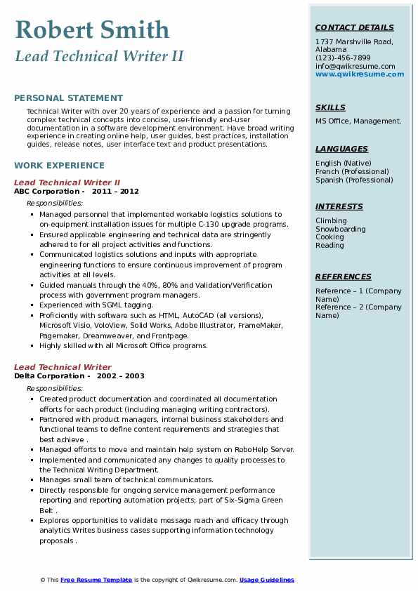 lead technical writer resume samples  qwikresume