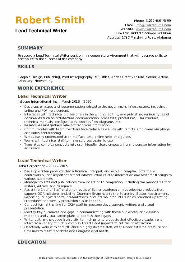 Lead Technical Writer Resume example