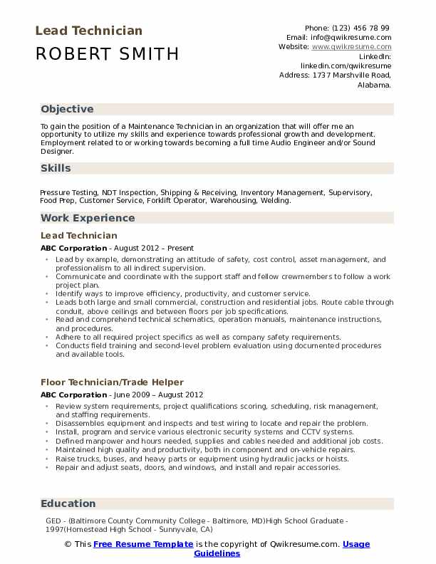 Lead Technician Resume Sample