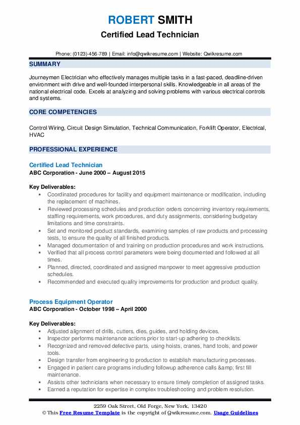 Certified Lead Technician Resume Template