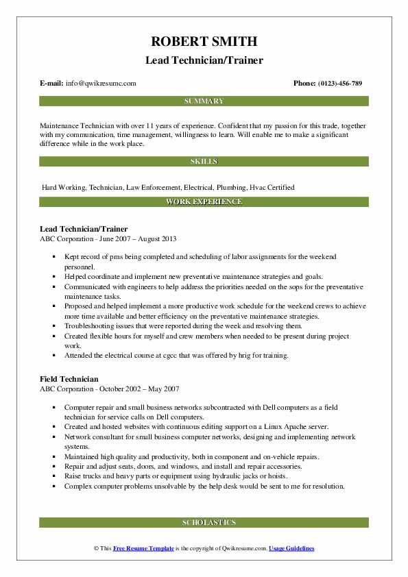Lead Technician/Trainer Resume Format