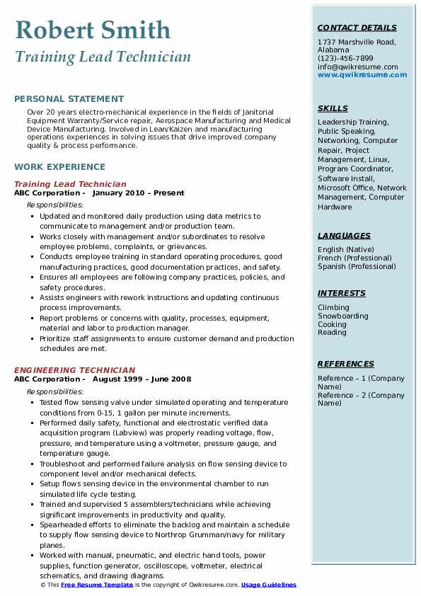 Training Lead Technician Resume Model
