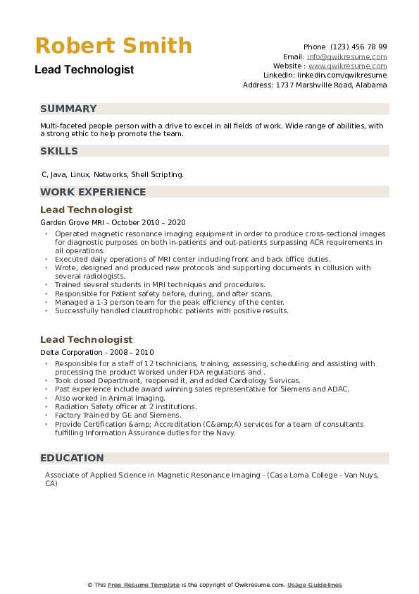 Lead Technologist Resume example